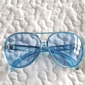 Blue large frame made in France retro sunglasses